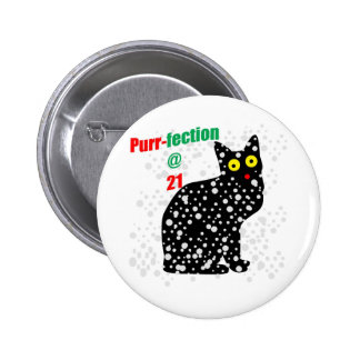 21 Snow Cat Purr-fection 6 Cm Round Badge