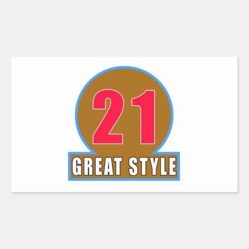 21 The Style Birthday Designs Rectangular Sticker