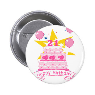 21 Year Old Birthday Cake 6 Cm Round Badge