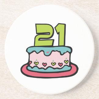 21 Year Old Birthday Cake Sandstone Coaster