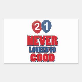 21 year old birthday designs rectangular sticker