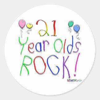 21 Year Olds Rock Round Sticker