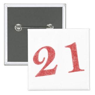 21 years anniversary 15 cm square badge