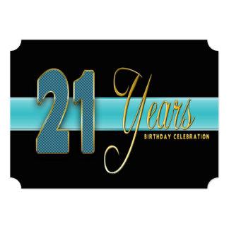 "21 YEARS BIRTHDAY PARTY INVITATION AQUA/BLACK 5"" X 7"" INVITATION CARD"