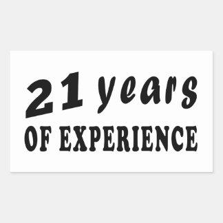 21 years of experience rectangular sticker