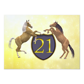 21 years old birthday party rearing horses card