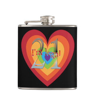 21 Years Old Rainbow Heart | 21st Birthday Legal Hip Flask