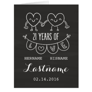 21st Anniversary Gift Chalk Hearts Card
