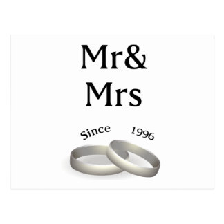 21st anniversary matching Mr. And Mrs. Since 1996 Postcard