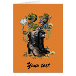 21st birtday girl - Steampunk boots Card