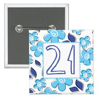 21st Birthday 15 Cm Square Badge