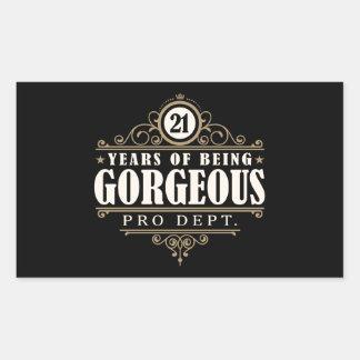 21st Birthday (21 Years Of Being Gorgeous) Rectangular Sticker