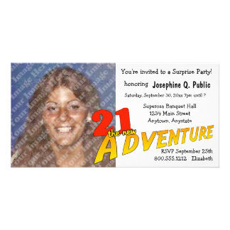 21st Birthday Adventure Party Photo Invitation Personalized Photo Card