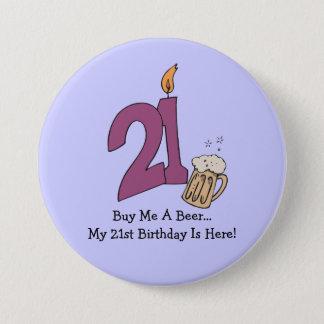 21st Birthday Beer (customizable) 7.5 Cm Round Badge