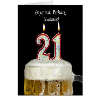21st Birthday Beer for Grandson Card