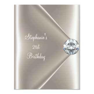 21st Birthday Beige Cream Diamond Jewel 2 Card