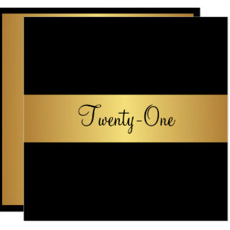 21st Birthday Black and Yellow Gold Card