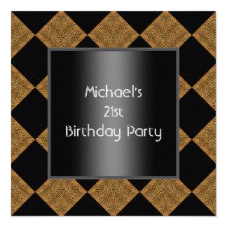 21st Birthday Black Bamboo Harlequin 2 Card