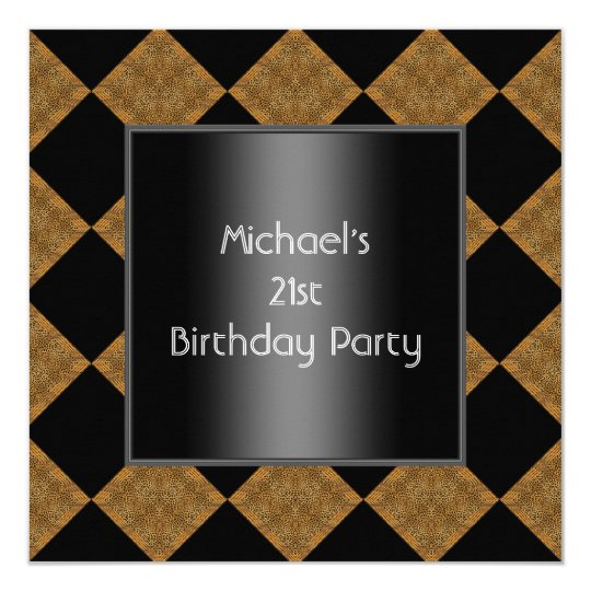 21st Birthday Black Bamboo Harlequin 2 Card