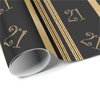 21st birthday black gold pattern