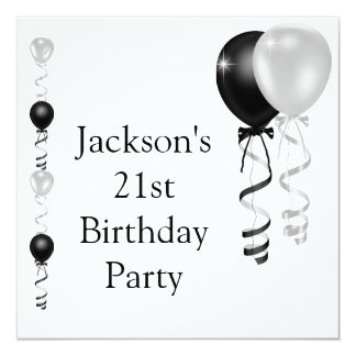 21st Birthday Black Silver White Balloons Card