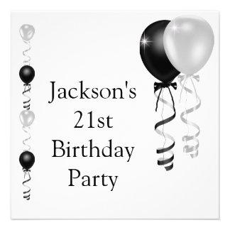 21st Birthday Black Silver White Balloons Custom Invitation