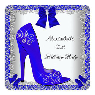 21st Birthday Blue High Heel Shoe Silver Lace 5.25x5.25 Square Paper Invitation Card