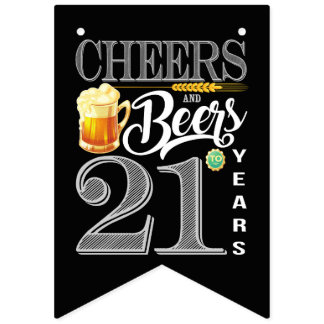 21st Birthday Bunting Flags Cheers Beers 21 Years