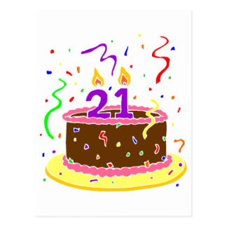 21st Birthday Cake Postcard