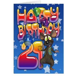 21st Birthday Card, Happy Birthday Card