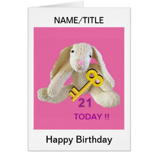 21st Birthday Card rabbit personalise name title