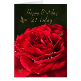 21st Birthday Card with a classic red rose