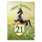 21st birthday card with a rearing horse