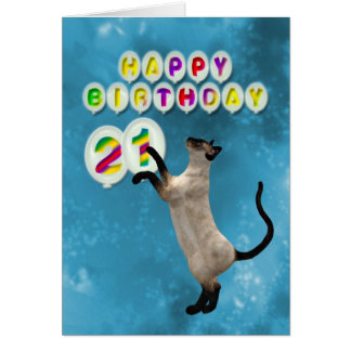21st Birthday card with siamese cats