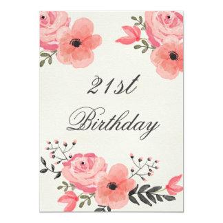 21st Birthday Chic Watercolor Flowers 13 Cm X 18 Cm Invitation Card