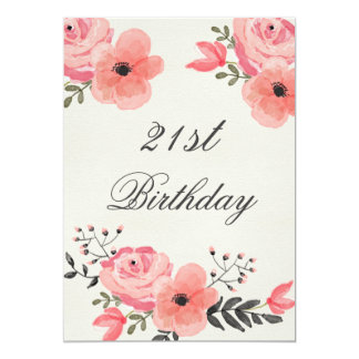 21st Birthday Chic Watercolor Flowers Card