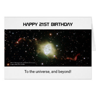 21st birthday custom text nebula universe card