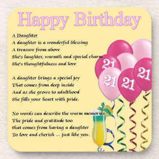 21st Birthday - Daughter Poem Coaster