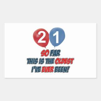 21st birthday designs rectangle stickers