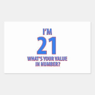 21st birthday designs rectangular sticker