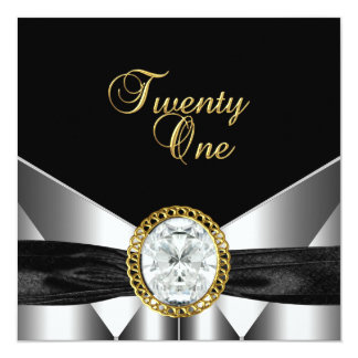 21st Birthday Diamond Jewel Black Silver Gold Card