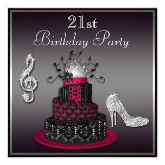 21st Birthday Disco Diva Cake and Heels Hot Pink Invites