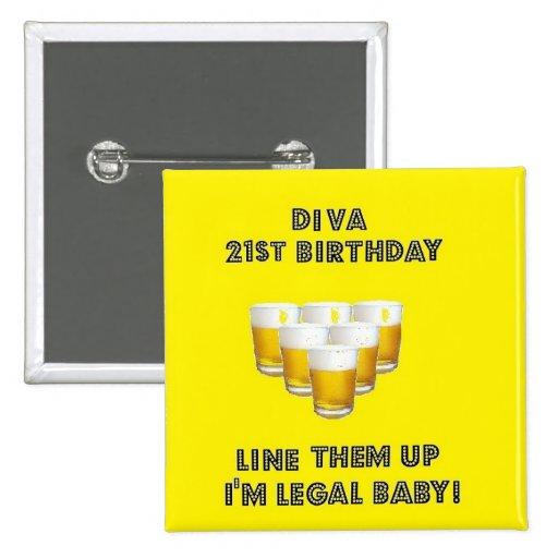 21st  Birthday Diva Button