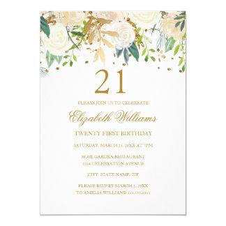 21st Birthday Elegant Gold Floral Invitation