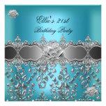 21st Birthday Elegant Teal Blue Silver Floral Personalised Invitation