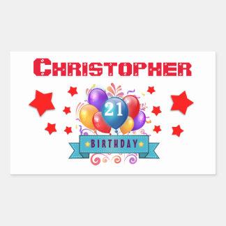21st Birthday Festive Colorful Balloons C01AZ Rectangular Stickers