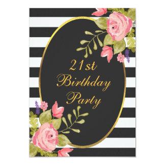 21st Birthday Floral Black White Stripes Gold Foil 13 Cm X 18 Cm Invitation Card