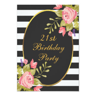 21st Birthday Floral Black White Stripes Gold Foil Card