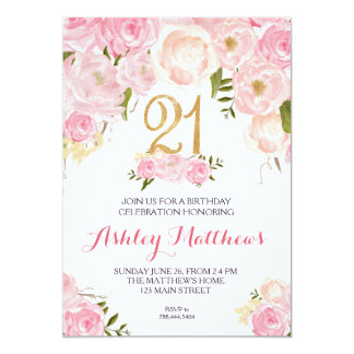 21st birthday Floral Invitation, 13 Cm X 18 Cm Invitation Card