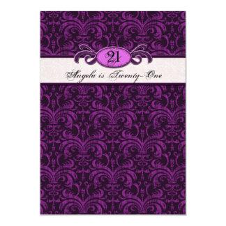 21st Birthday for a Gothic Girl, Fuschia Damask 13 Cm X 18 Cm Invitation Card